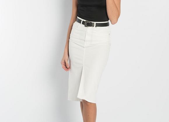 White denim midi skirt