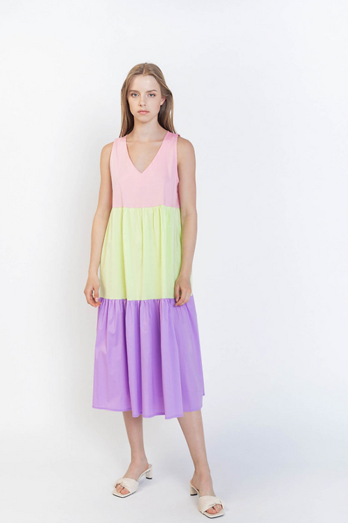 Midi color block dress