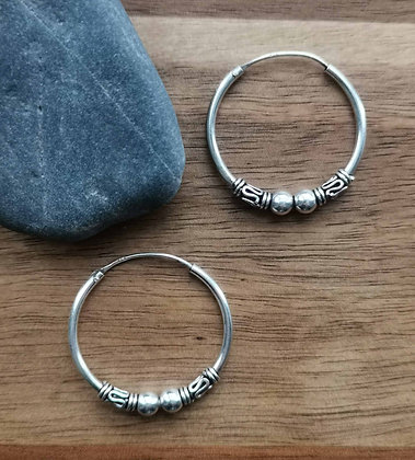 Double Ball Pattern Ear Hoops