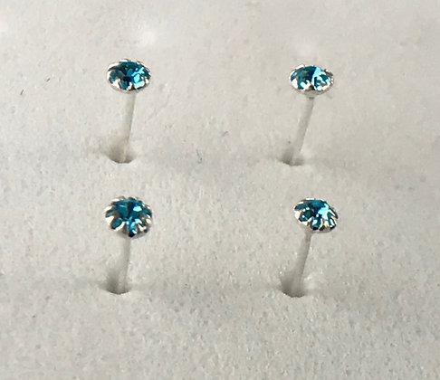 Coloured gem nose studs (Pack of 4)