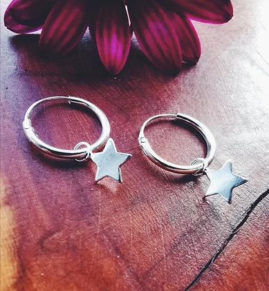 Silver Star Charm Hoops