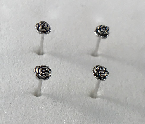 Rose Silver Nose Studs (Pack of 4)