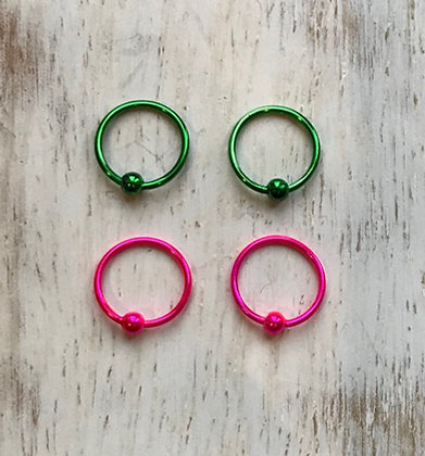 Green and Pink Coloured Nose Hoops (Pack of 4)