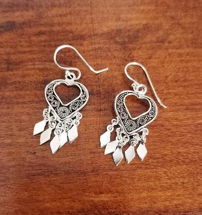 Heart filigree charm earrings