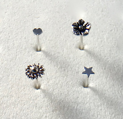 Flower Silver Nose Stud Collection (Pack of 4)