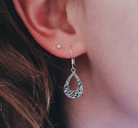 Silver Hammered Teardrop Earrings