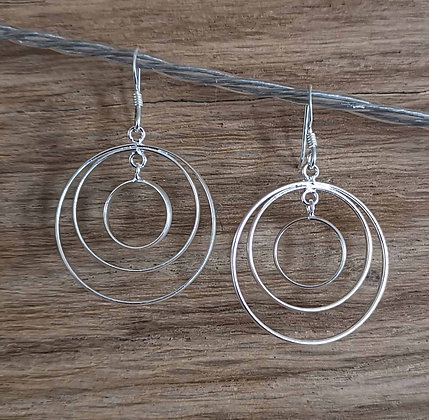 Three Circle Dangle Earrings