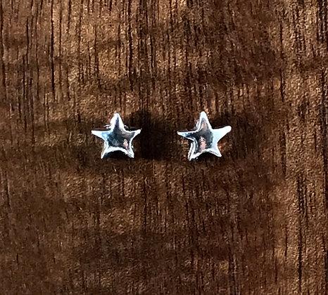 Plain silver star ear studs