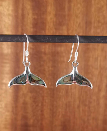 Abalone Shell Whale Tail Dangle Earrings