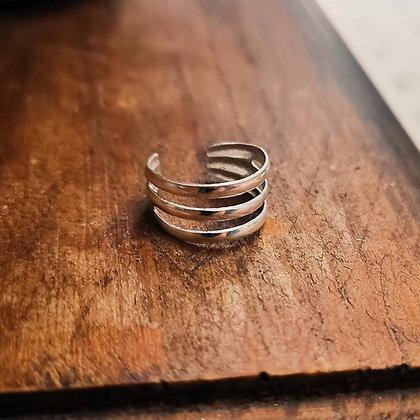 Silver Three Layered Toe/Midi Ring