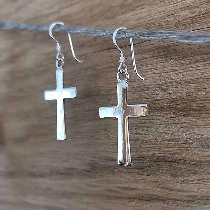 Plain Silver Cross Earrings