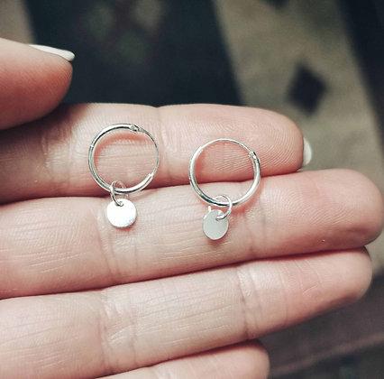 Plain circle charm ear hoops