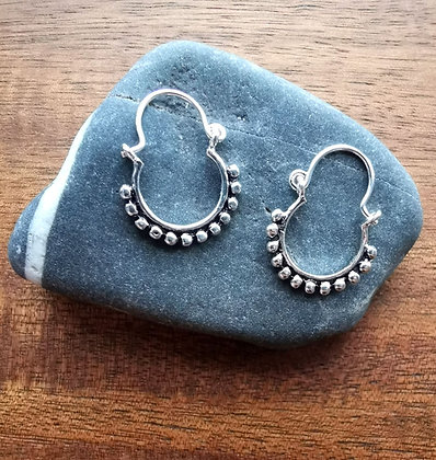 Silver Ball Rimmed Hoops