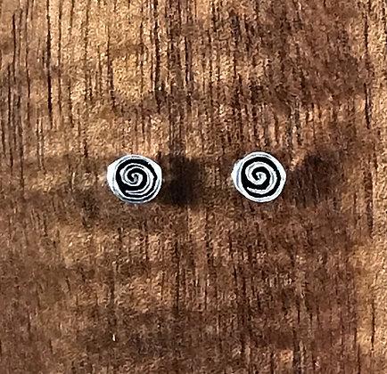 Round spiral silver ear studs