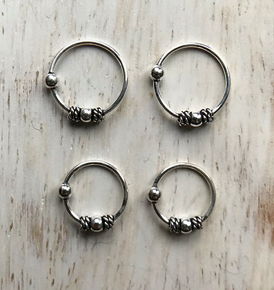 Pack of 4 Ornate Sterling Silver Nose Hoops