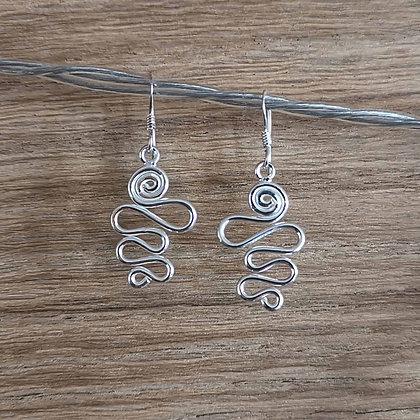Silver Squiggly Drop Earrings