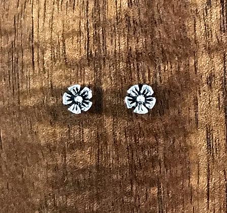 Five petal flower silver ear studs