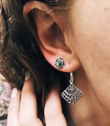Peacock swirl drop earrings