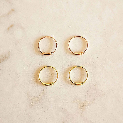Pack of 4 Gold and Rose Gold Nose Hoops (Bar)