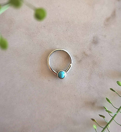 Silver Hoop with Turquoise Gem