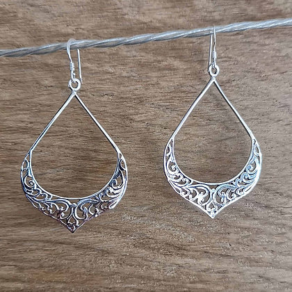 Detailed Large Teardrop Earrings
