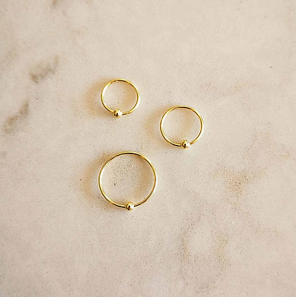 Pack of 3 Gold Plated Nose Hoops (Ball, Mixed Sizes)