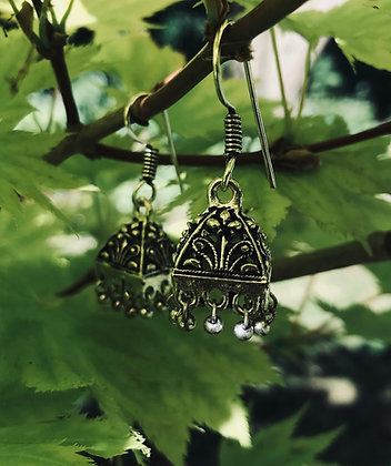 Costume Ornate Squared Dome Earrings