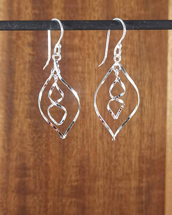 Twisted Double Diamond Earrings