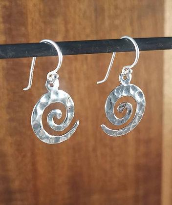 Hammered Swirl Silver Dangle Earrings