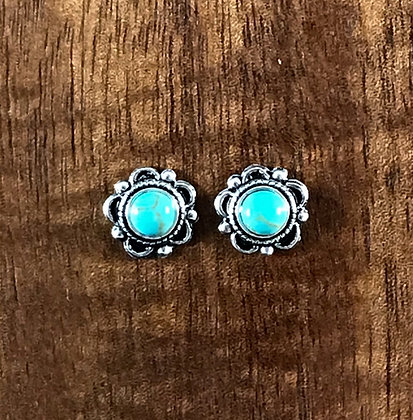 Turquoise colour flower ear studs