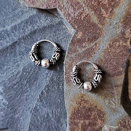 Mini Thick Ball and Balinese Pattern Hoops
