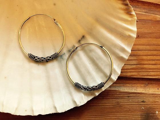 Medium Sterling Silver Balinese Ear Hoops (30mm Diameter)