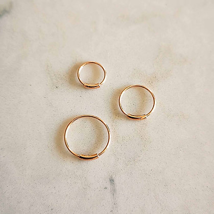Pack of 3 Rose Gold Plated Nose Hoops (Bar, Mixed Sizes)