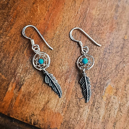 Mini Silver Dream Catcher Earrings