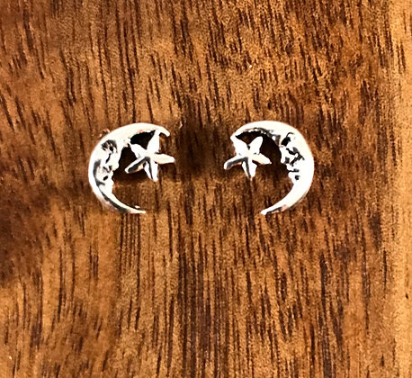Silver moon crescent and star ear studs