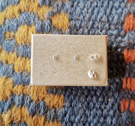 Mini Clear Gem Ear Studs