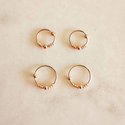 Pack of 4 Ball and Coil Rose Gold Nose Hoops