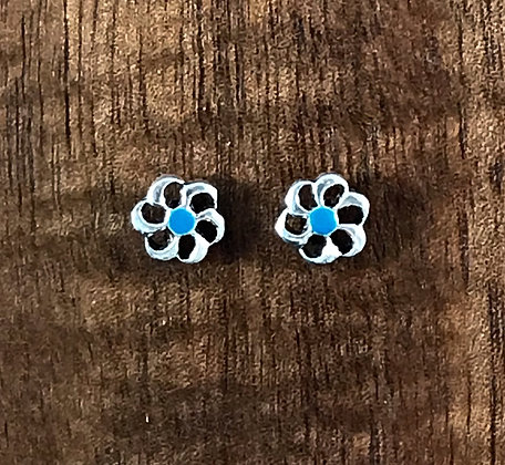 Blue and silver flower ear studs