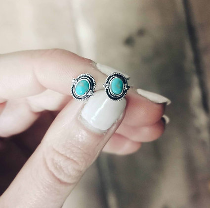 Boho faux turquoise ear studs