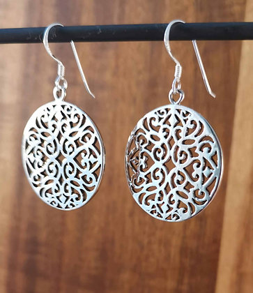 Large Circular Mandala Dangle Earrings