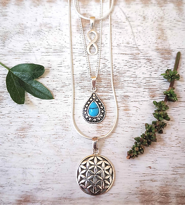 Three Part Bohemian Silver Necklaces