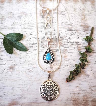 Three Part Bohemian Silver Necklaces
