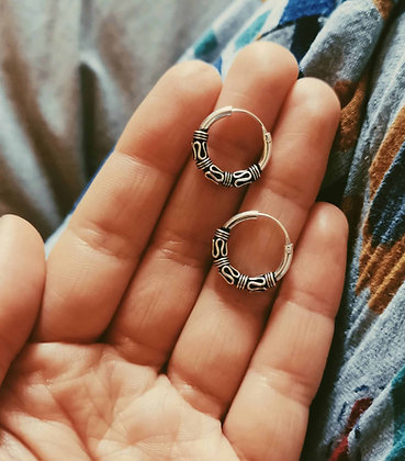 Small Thick Silver Bali Ear Hoop