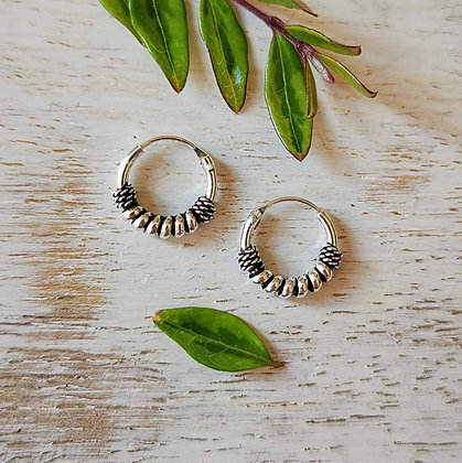 Mini Silver Coil and Rope Ear Hoops