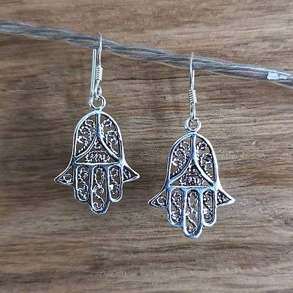 Hamsa Hand Silver Drop Earrings