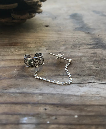 Moon and Star Ear Cuff With Chain