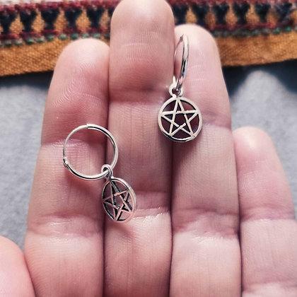 Pentagram Charm Ear Hoops