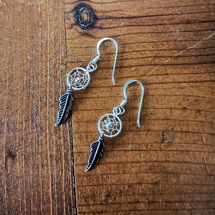 Mini Plain Dreamcatcher Drop Earrings