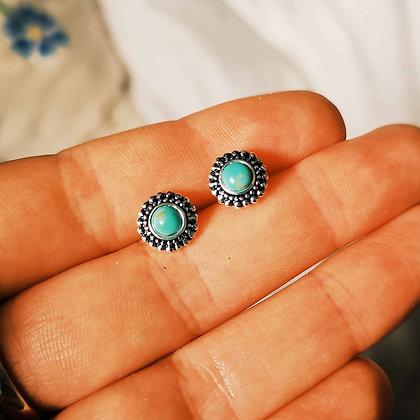 Turquoise style boho ear studs