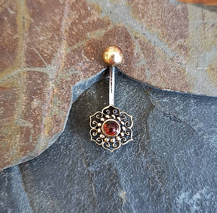Brass Flower Belly Bar with Amber Style Gem
